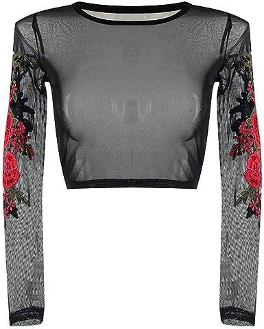 VECDY Blusa Corta Negra Elegante Mujeres Sexy De Encaje Apliques Rosa Manga Larga Tops Camisa Blusa Suave Camisa: Amazon.es: Ropa y accesorios