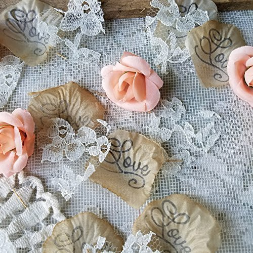 Bohemian Wedding Confetti with Lace Heart Confetti and Soft Coral Silk Flowers by Burlap And Bling Design Studio