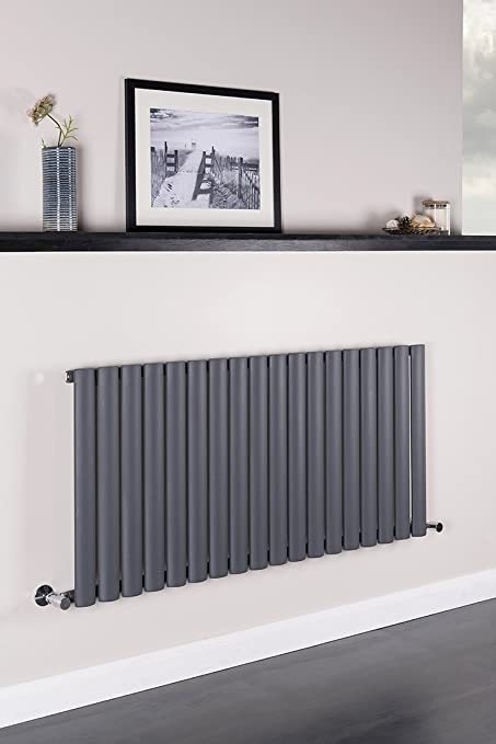 Horizontal Column Designer Radiator Sand Grey Single Oval Flat Panel   600  X 1260 Mm
