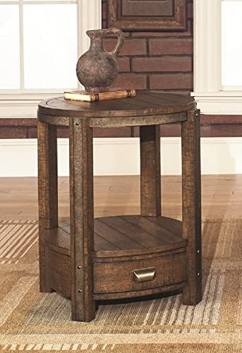 Rustic Round End Table with Drawer Distressed Umber Finish with Aged Antique Brass Metal