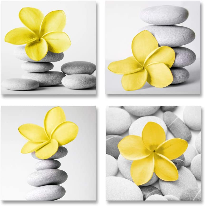 Genius Decor-Modern Bathroom Yellow Gray Wall Art Picture Flowers and Pebble Stone Canvas Print Wall Decor Set 4(Yellow)