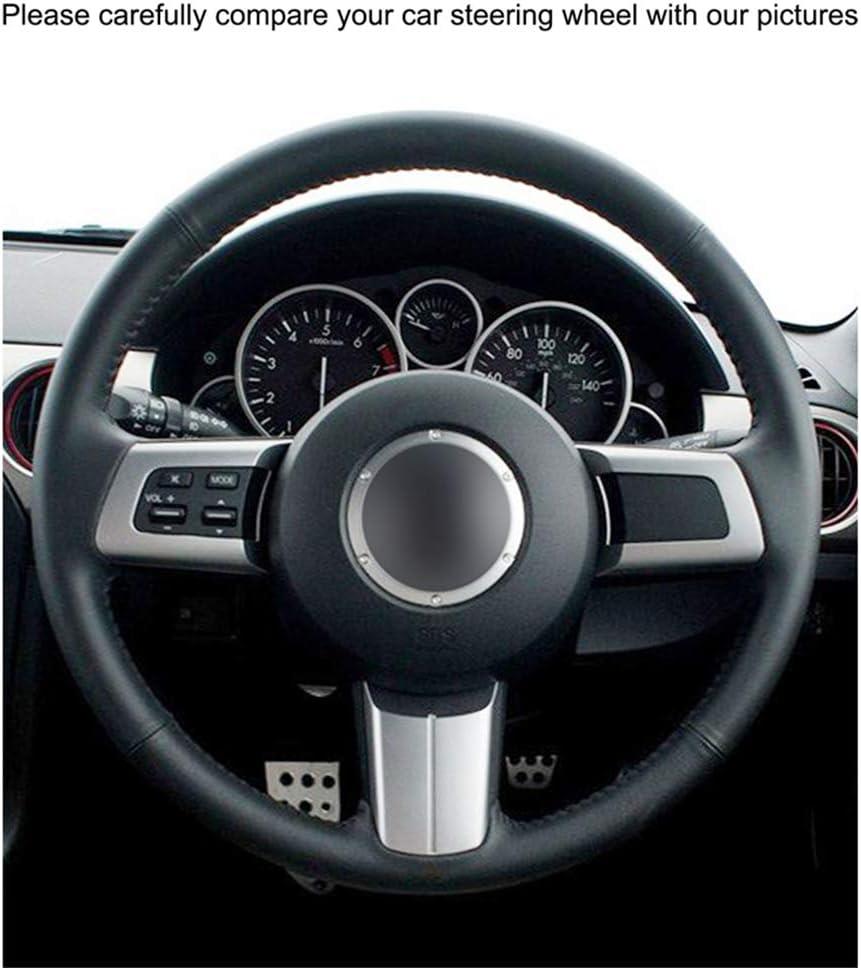 per Mazda MX-5 HZHAOWEI per Miata 2009-2013 RX-8 2009-2013 CX-7 2007 Per Avvolgere Le coperture del Volante in Pelle Artificiale PU Nera Cucita a Mano