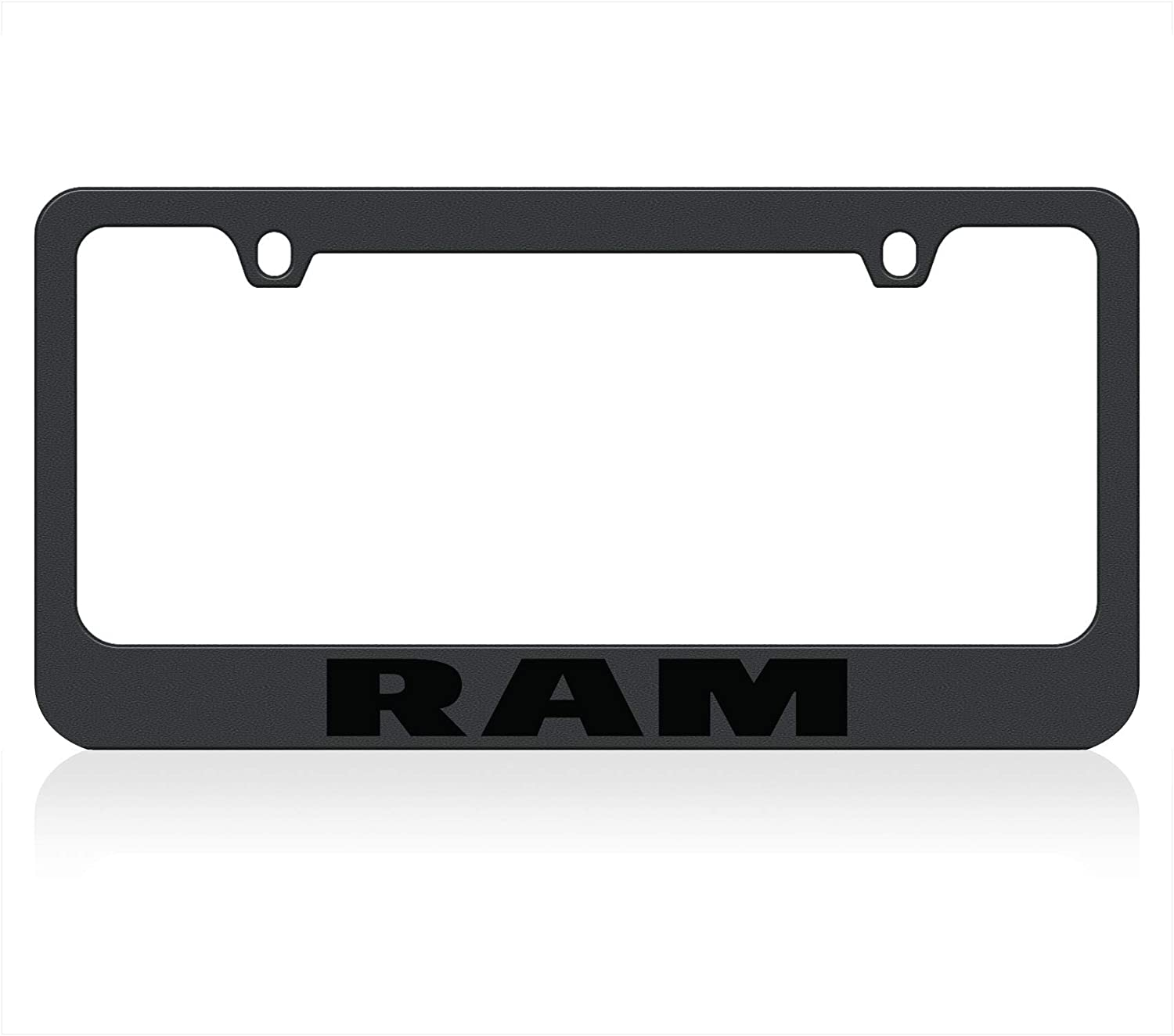 Eurosport Daytona Compatible with Dodge RAM Word Black License Plate Frame
