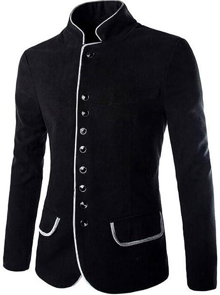 Jeansian Moda Chaqueta Abrigos Blusas Chaqueta Hombres Mens Fashion Jacket Outerwear Tops Blazer 9388 Black XS