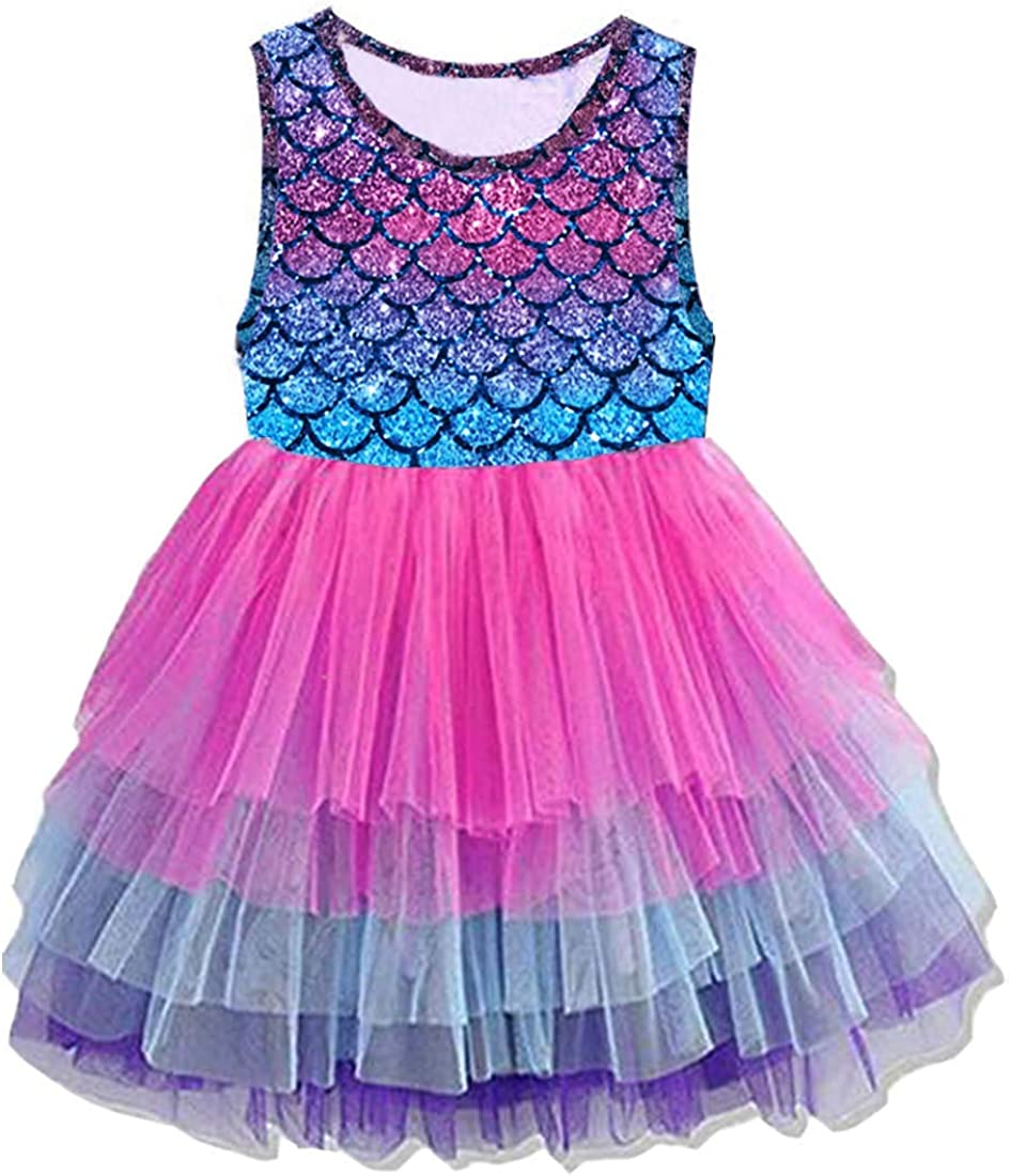 DXTON Toddler Girl Summer Short Sleeve Tutu Party Wedding Birthday Dresses
