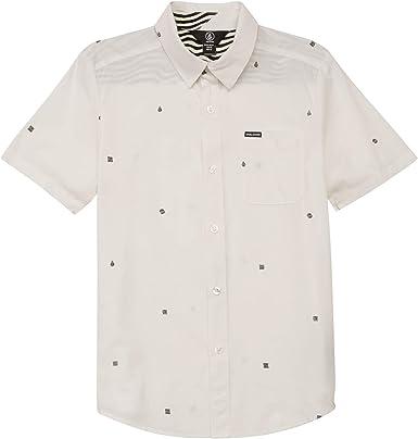 Volcom Niños C0431801 Manga Corta Camisa de Botones - Blanco ...