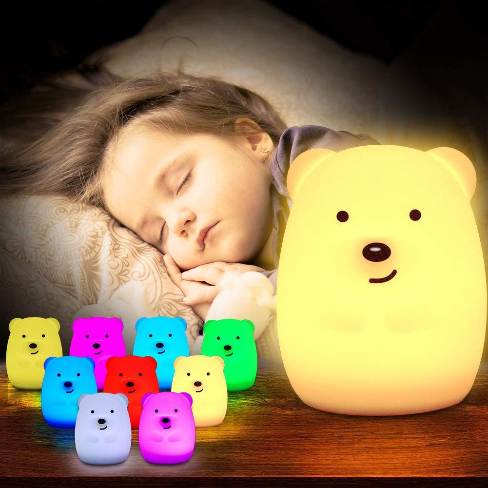 EBES Lámpara de Noche Bebé Lámpara Infantil Regalo para los Niños Bebés Luz de 9 Colores Multicolor Remoto Recargable [Clase de eficiencia energética A++] Easy Buy and Easy Sell