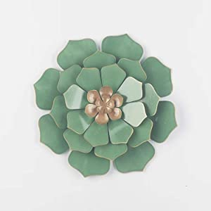 Multiple Layer Flower Metal Wall Art Home Decor for Indoor Outdoor Garden (green)