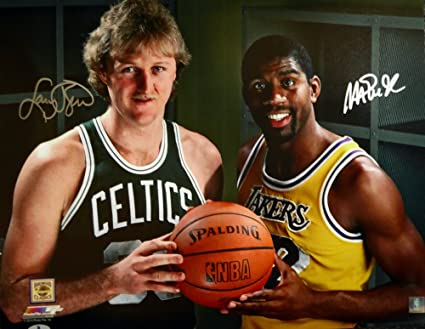 d3122311328 Image Unavailable. Image not available for. Color  Magic Johnson   Larry  Bird Autographed 16x20 Photo Beckett BAS