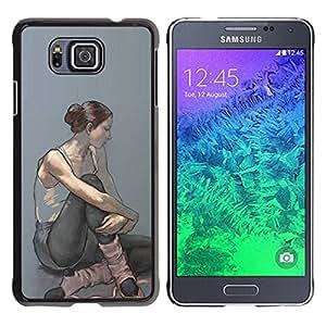 Paccase / SLIM PC / Aliminium Casa Carcasa Funda Case Cover - Ballerina Woman Painting Art - Samsung GALAXY ALPHA G850