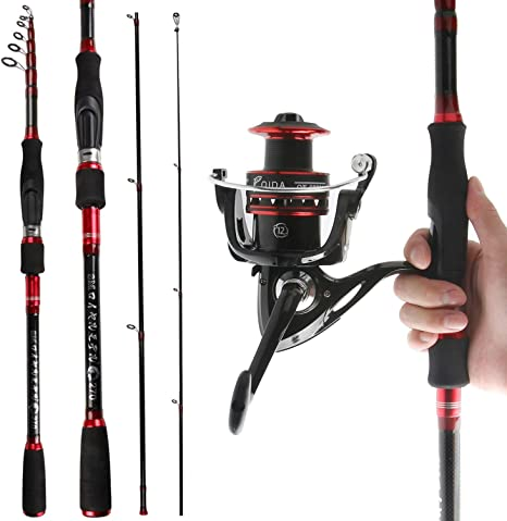 REAWOW Fishing Rod And Reel Combos Portable Carbon Fiber Telescopic Deep Sea Fishing Rod With Spinning Reels Bass For Travel
