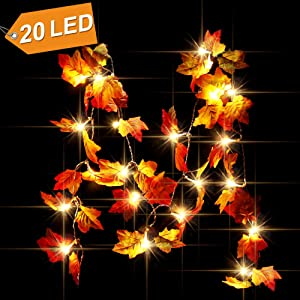 CPPSLEE 8.2ft Christmas Decorations Lighted Fall Garland -Christmas Decor Fall Garland Lights 20 LED - Fall Decor, Fall Decorations