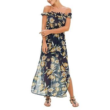 83c32ff0c49 iBaste Women s Long Chiffon Dress Sexy Off Shoulder Agaric Neck Floral Print  Side Split Beach Maxi