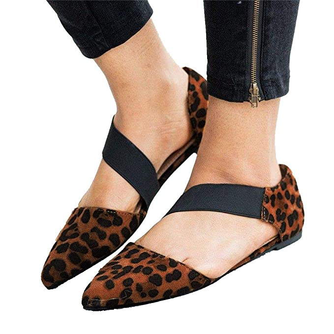 2a5b3f03c4df6 Shoes for Women Pointed Toe Elastic Strap Leopard Low Wedge Flat ...