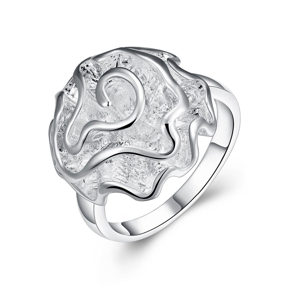 V-MONI Rose Ring Classic Silver Rose Ring Ornament 7