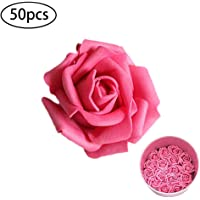 Xiton 50pcs artificiels Mousse Florale Roses Fleurs Roses Faux Regarder réel Simulation Fleur Rose Head Bricolage Home décoration de Mariage (Rose Rouge)