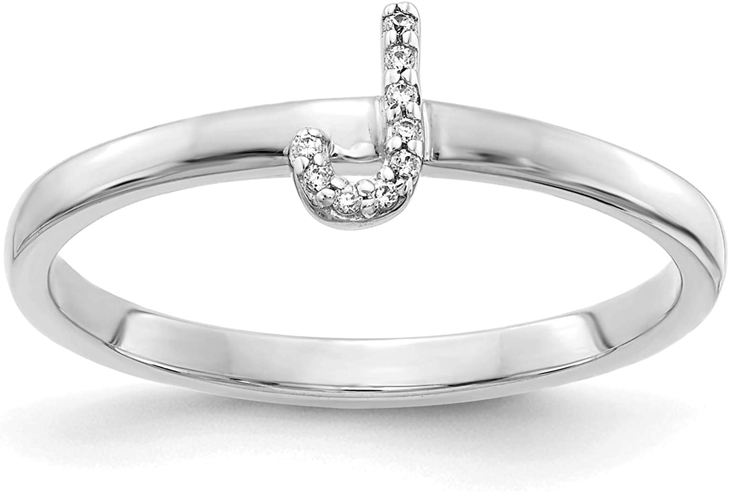 14k White Gold w//Diamond Accent Initial Letter J Ring Size 7