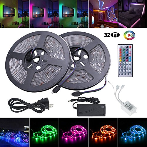 Led Strip Lights, Waterproof Flexible RGB Led Strip Light Kit, SMD 5050 300leds 32.8ft(10m) with 44key Ir Controller and 12V Power Supply Bedroom,Bed,Kitchen,TV Backlighting,Trucks Pools Parties etc.