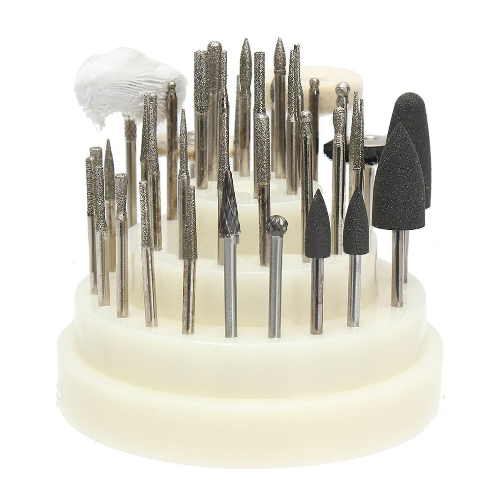 40 PCS low Speed Micro Polishing Drill Bits Include Tungsten Carbide Burr, Silicone Polishers, Diamond Burs, Hair Brush