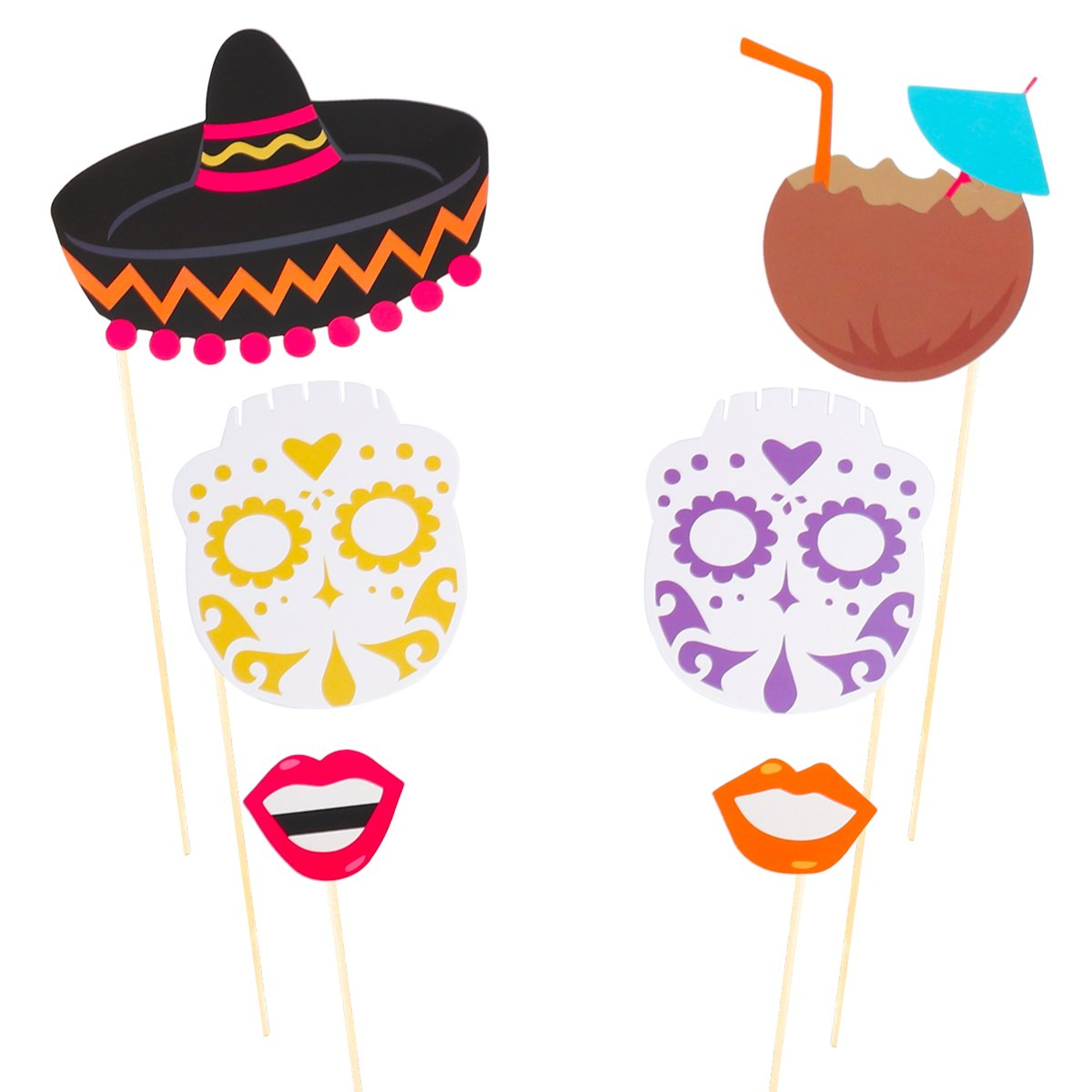 LUOEM Mexican Fiesta Photo Booth Props Cinco De Mayo Mexican Party Favors Supplies Selfie Props for The Dead Party Birthday Bachelorette Fiesta Themed Party Decorations 21 Pack