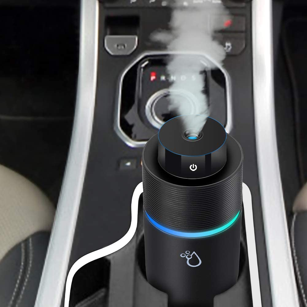VRZTLAI Car Essential Oil Diffuser, Cool Mist Air Car Humidifier Air Refresher USB Ultrasonic Diffuser with 7 Colorful LED Lights for Car Travel Office Home Black