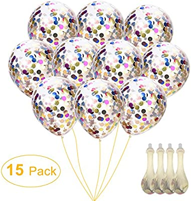 Amazon Confetti Balloons 12 Silver Gold Glitter For Mothers Day Wedding Proposal Birthday Party Decorations Mouth Piece Included