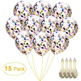 Confetti Balloons Round 12'' Silver & Gold Glitter Balloons for Wedding, Proposal, Birthday Party Decorations (Mouth Piece Included, 15 Pack)