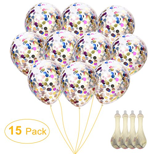 Confetti Balloons 12 Silver & Gold Glitter Balloons for Mothers Day, Wedding, Proposal, Birthday Party Decorations (Mouth Piece Included, 15 Pack)
