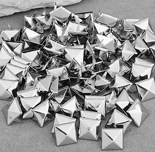 Silver Pyramid Studs - Vikeva 100 12mm Pyramid Studs Spots Punk Rock Nailheads Spikes for Bag Shoes Bracelet