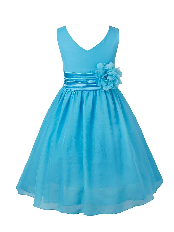 YiZYiF Vestido Fiesta Boda Niñas Vestido Ceremonia Largo Vestido Elegante Princesa Cintura con Un Flor Traje Comunión Dama de Honor Bautizo Muchachas ...
