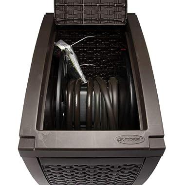 Suncast Aquawinder 125' Wicker Garden Hose Reel - Lightweight Portable Hands - Free Water Powered Retractable Hose Reel - Java
