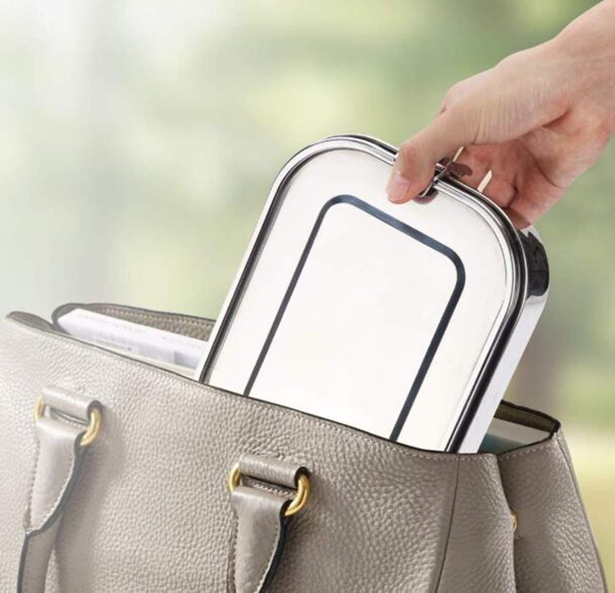 FOOLS ALIBAI Auslaufsichere Brotdose aus Edelstahl, Bento-Box, Metall-Lunchbehälter mit 3 Fächern, 1200 ml, für Kinder oder Erwachsene, sicher ohne Kunststoff & BPA (1.2L)
