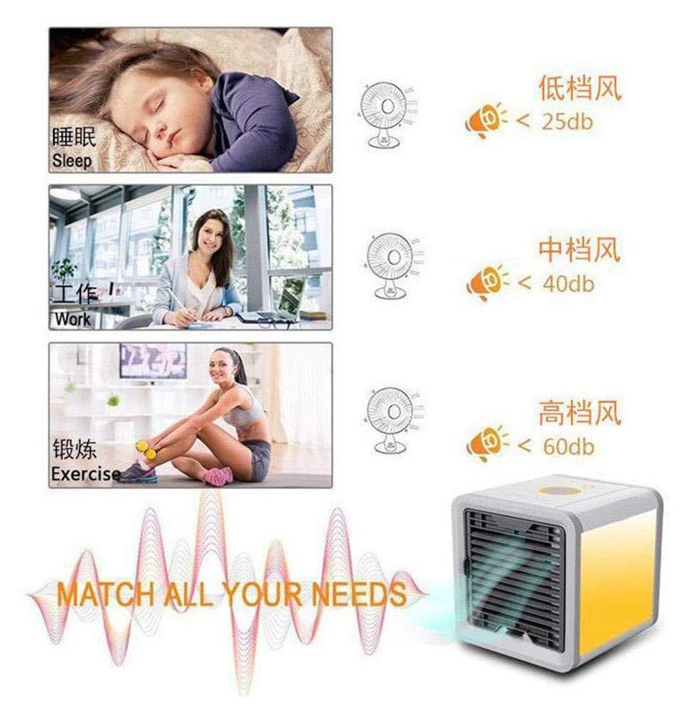 Regolabile Raffrescatore Evaporativo,Portatile Climatizzatore Ventilatore 3 in 1 Umidificatore dAria Purificatore dAria 7 Tipi di luci a LED Adatto per Soggiorn Mini Air Cooler