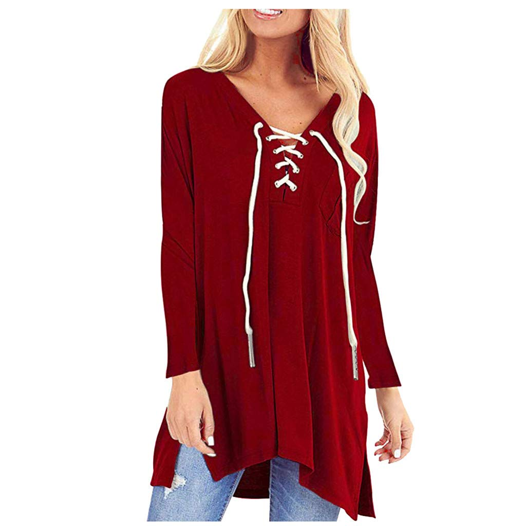 SHUSUEN Womens Tops Floral V Neck Tunic Long Sleeve Blouses Lace Up Flowy Side Split Casual Shirts Wine by SHUSUEN