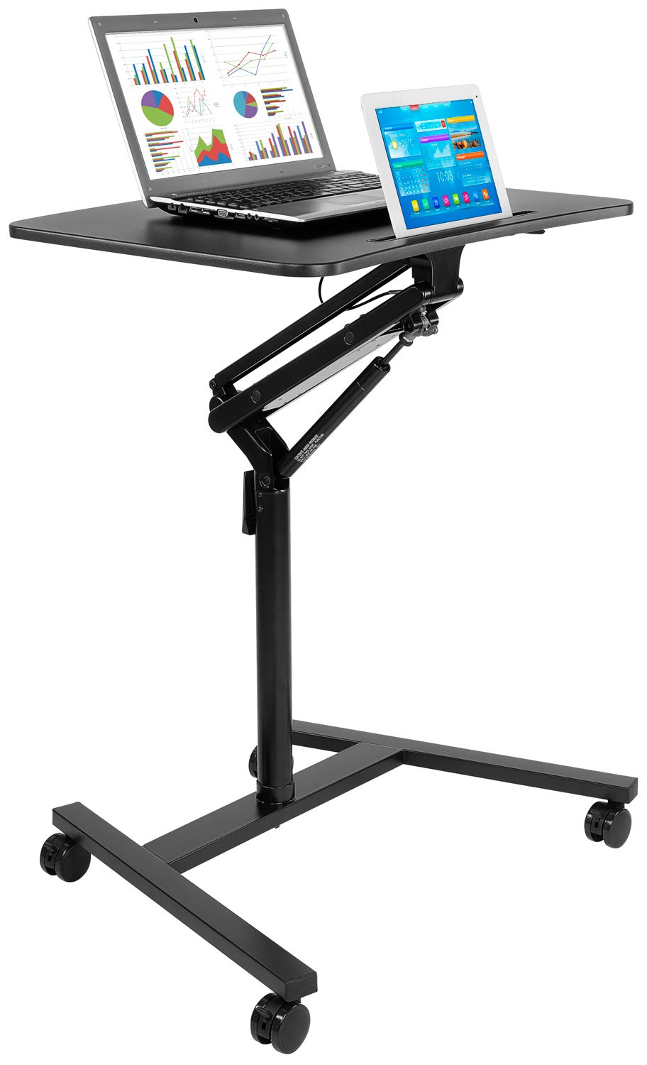 Mount-It! Mobile Standing Laptop Desk, Height Adjustable Rolling Sit Stand Workstation with Casters, 27.5 Wide with Gas Spring Lift Mechanism, Black