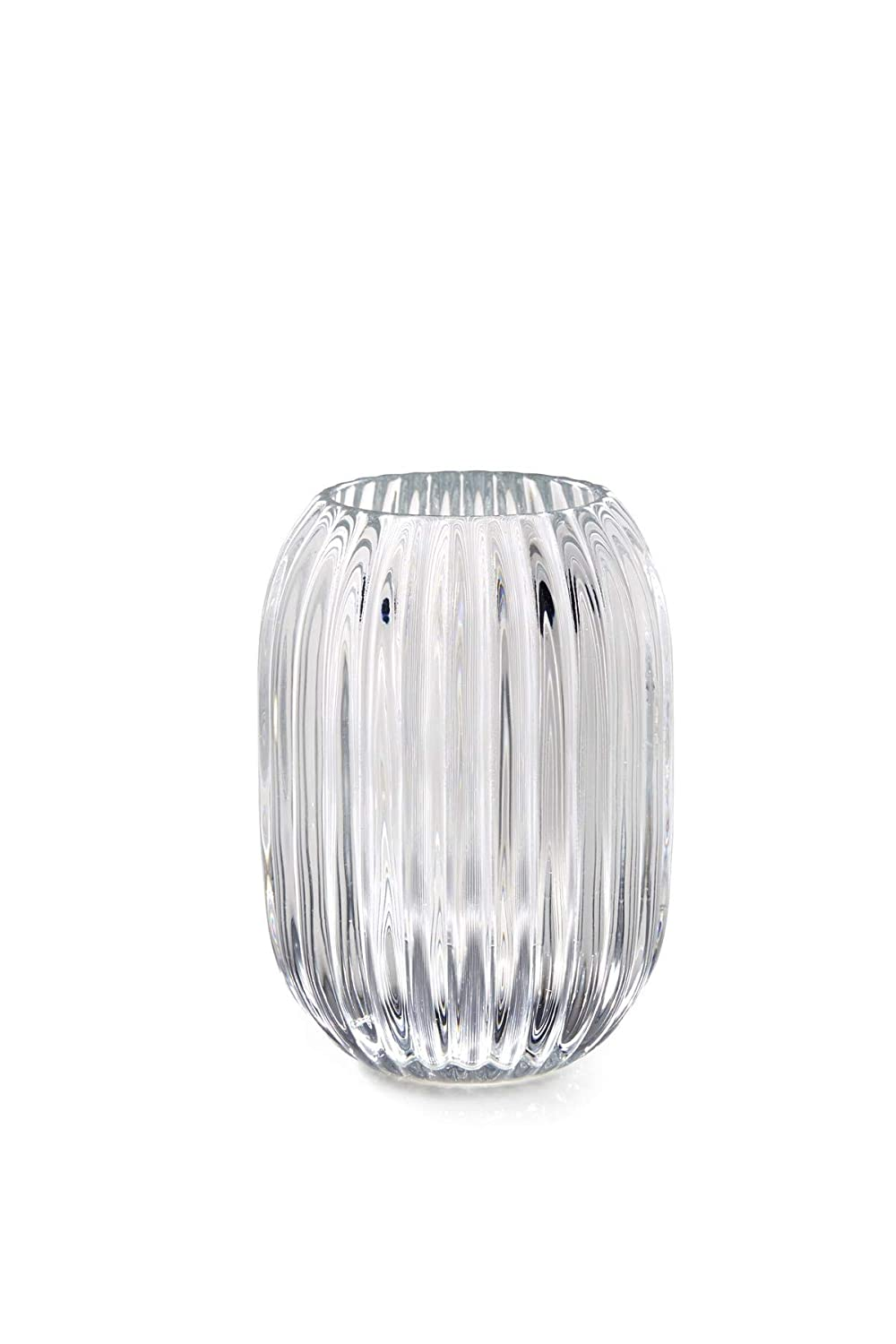 "Serene Spaces Living Clear Optical Glass Votive Holder, Perfect for Weddings and Home Décor, Measures 5"" Tall and 3.5"" Diameter"