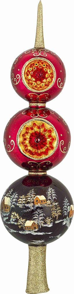 Metzler Brothers Red Russian Finial Polish Glass Christmas Tree Topper 14 Inch