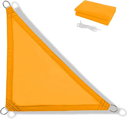 Anecoul Sun Shade Sail Waterproof Right Triangle 16 x 16 x 23 Shade Sails 95 UV Blocker Sunshade Patio Carport Awning in Color Goose Yellow 3 Years Warranty Available for Custom Sizes