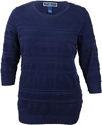 1793f1e17efc68 Karen Scott Plus Size Solid Textured Sweater in Intrepid Blue