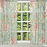 ALAZA Window Sheer Curtain Panels,Christmas Decoration Vintage Shabby Chic Floral Q43,Door Window Gauze Curtains Living Room Bedroom Kid Office Window Curtain 55x84inch Two Panels Set Review