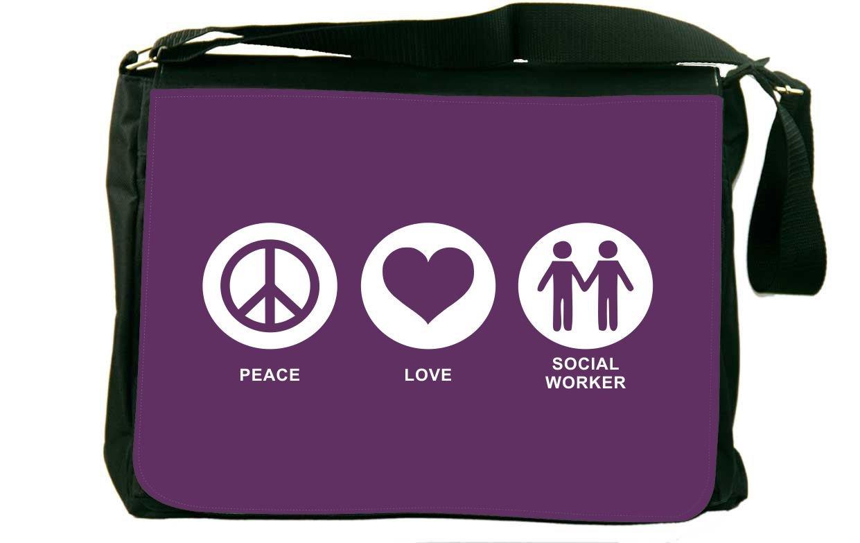 Rikki Knight Peace Love Social Worker Purple Color Design Messenger Bag - Shoulder Bag - School Bag for School or Work