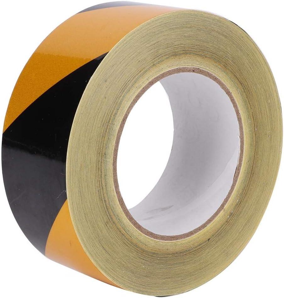 Belissy 50mm x 46m reflexivo de la Seguridad de Cinta Negro de Peligro Amarilla Cintas Autoadhesivas Accesorios