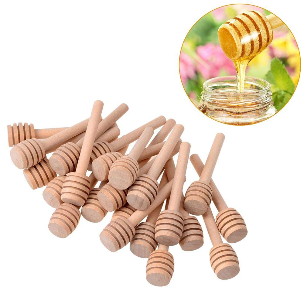 TOOGOO 50 Pack of Mini 3 Inch Wood Honey Dipper Sticks, Individually Wrapped, rver for Honey Jar Dispenr Drizzled Honey, Wedding Party Favors by Toogoo (Image #3)