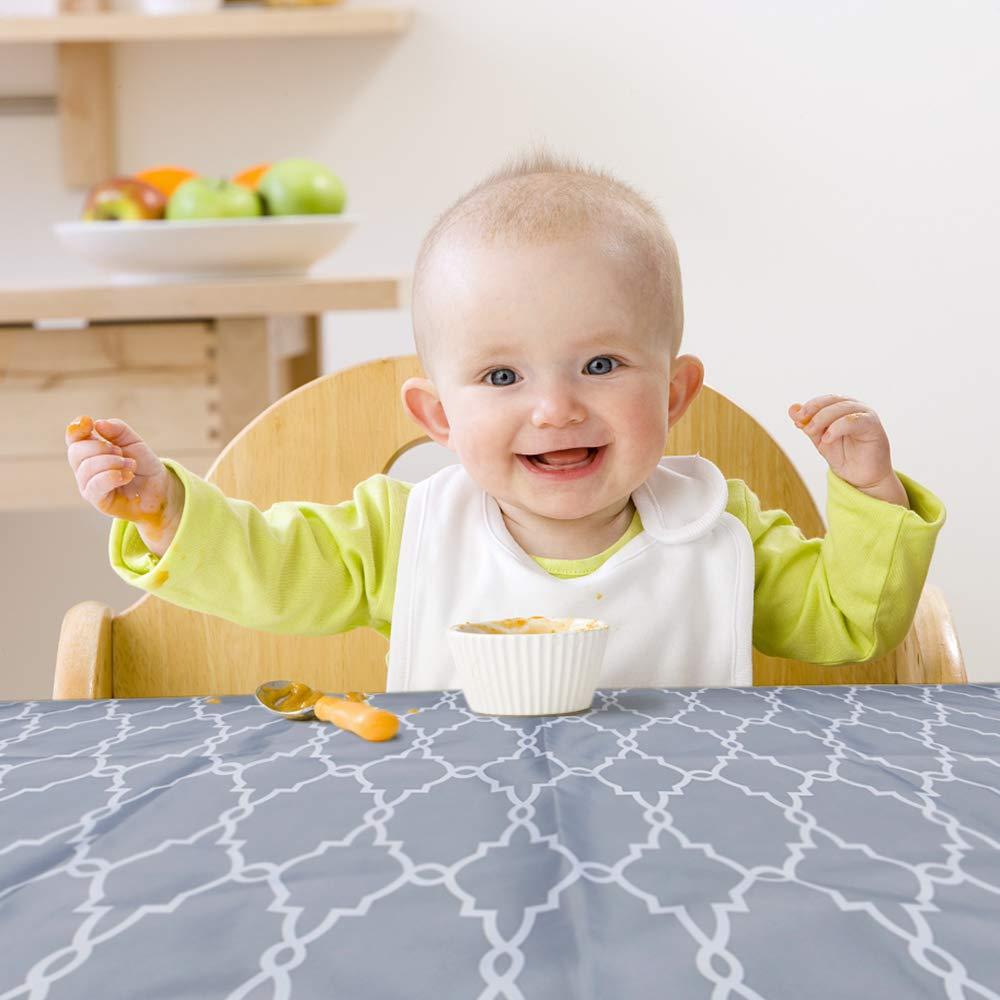 Anti-Slip Gray Chevron ZITA ELEMENT 55 Splat Mat for Under High Chair Baby Washable Spill Mat Waterproof Reusable and Safe Material Art Craft Floor Mat