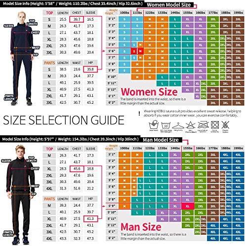 KEBILI Full Zip Up Sauna Jacket Pants for Women Men Weight Loss 6