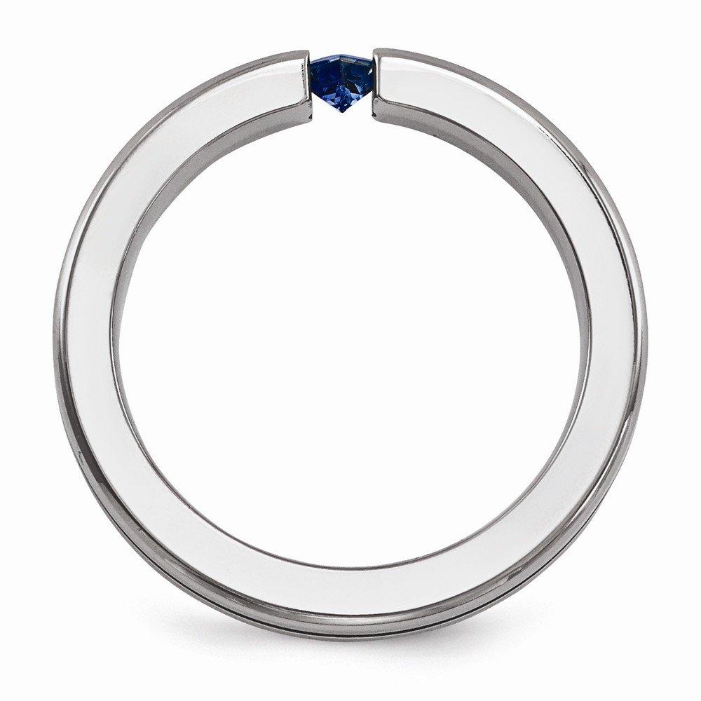 Bridal Wedding Bands Decorative Bands Edward Mirell Titanium Sapphire and Blue Anodized 4mm Band Size 9