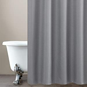 Shower Curtain Grey Water Repellent Waffle Weave Bathroom Shower Curtain Gray 70 by 72 inch Shower Curtain Hooks Included