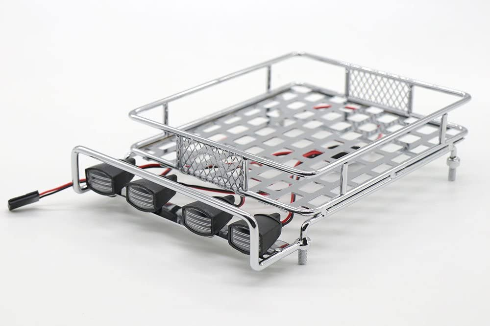 Red WishRing RC 1:10 Roof Luggage Rack LED Light Bar Wrangler Tamiya CC01 SCX10 Axial 514