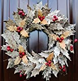 "Rustic Birch Bark Leaf and Berry Wreath in 21"" Diameter for Christmas or Thanksgiving Decor"