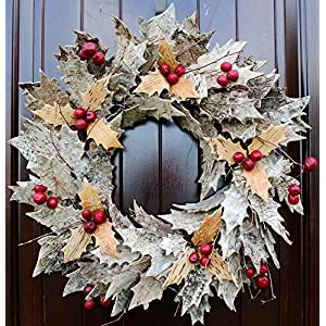 "Rustic Birch Bark Leaf and Berry Wreath in 21"" Diameter for Christmas or Thanksgiving Decor 43"